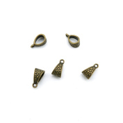Price per 20 Pieces Jewellery Making Supply Charms Findings Filigrees G9EG2V Bail Connector Cord Ends Antique Bronze Findings Beading Craft Supplies Bulk Lots