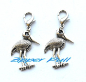 Crane Charm Zipper Pull Pendant, Zipper Pull, Perfect for Necklaces, Bracelets , keychain and earrings