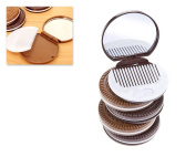 DSstyles 5 Pieces Chocolate Cookie Compact Mirror Portable Travel Makeup Mirror Pocket Vanity Mirror with Hair Comb - Brown