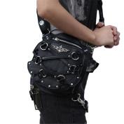 Qhome Steampunk Mini Waist Bag Women Motorcycle Leg Bags Crossbody Bag Phone Case Holder Black Gothic Leather Bags