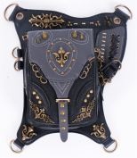 Qhome Steampunk Waist Bags Womens Motorcycle Leg Bags Vintage Women Messenger Bags Black Gothic Leather Bags