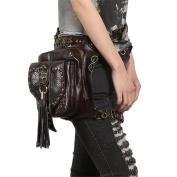 Qhome Steampunk Skull Waistbag Women Gothic Tassels Leather Bags Leg Bags Brown Cross Body Bag Fashion Phone Case Holder