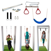 Indoor Swing by DreamGYM | Trapeze Bar & Gymnastic Rings Combo and Rope Swing for Doorway Gym