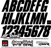 STIFFIE Shift Black SUPER STICKY 7.6cm Alpha Numeric Registration Identification Numbers Stickers Decals for Sea-Doo SPARK, Inflatable Boats, RIBs, Hypalon/PVC, PWC and Boats.