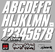 STIFFIE Shift White SUPER STICKY 7.6cm Alpha Numeric Registration Identification Numbers Stickers Decals for Sea-Doo SPARK, Inflatable Boats, RIBs, Hypalon/PVC, PWC and Boats.