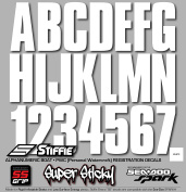 STIFFIE Uniline White SUPER STICKY 7.6cm Alpha Numeric Registration Identification Numbers Stickers Decals for Sea-Doo SPARK, Inflatable Boats, RIBs, Hypalon/PVC, PWC and Boats.