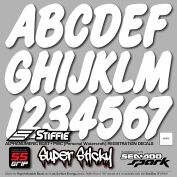 STIFFIE WhipOne White SUPER STICKY 7.6cm Alpha Numeric Registration Identification Numbers Stickers Decals for Sea-Doo SPARK, Inflatable Boats, RIBs, Hypalon/PVC, PWC and Boats.