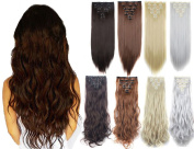 FRISTLIKE 7 Piece 16 Double Weft Clip in Hair Extension straight and Body Wave Hight Quality As Human Hair As Real
