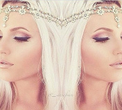 Gold Floral Pearl Head Chain Grecian Goddess Bridal Bride Wedding Prom Bohemian Boho Glamour Bollywood Hair Jewellery Headband