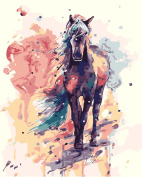 TianMai New Paint by Number Kits - Colourful Pink Horse 41cm x 50cm Linen Canvas Paintworks - Digital Oil Painting Canvas Kits for Adults Children Kids Decorations Christmas Gifts
