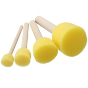 Raza 4pcs Round Stencil Sponge Foam Brushes Wooden Handle for Furniture Art Crafts Stencilling Painting Tool Supplies Assorted Size