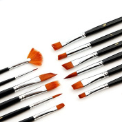 Artist Paint Brush Set 12pcs Art Brushes for Acrylic Painting, Watercolour, Oil and Gouache. Golden Nylon Hair Professional Artist Quality Paintbrushes, No-Shed Bristles.