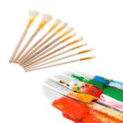 NNDA CO 10Pcs Brushes Set for Art Painting Oil Acrylic Watercolour Drawing Craft DIY Kid