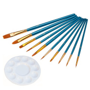 6MILES 10 Pieces Art Flat Round Pointed Tip Nylon Hair Brush With 1 Piece Round Paint Palettes Plastic Tray Artist for Watercolour Oil Acrylic Paint Craft Nail Face Painting Set
