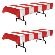 Red & White Stripes Tablecover Party Accessory
