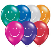 Qualatex Smile Face Jewel Tone 28cm Latex Balloons, Assorted Colours, 6 CT
