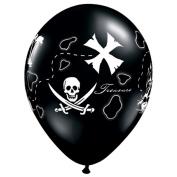 Qualatex Pirate's Treasure Map 28cm Latex Balloons, Black, 50 CT