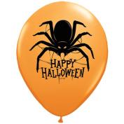 Qualatex Happy Halloween Spider 28cm Latex Balloons, Orange, 50 CT