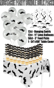 Moustache Baby Shower Birthday Party Supply Bundle Bulk Pack Includes 12 Swirl Decorations, 50 Moustache Food Picks, 12 Latex Balloons, and 1 Moustache Table Cover