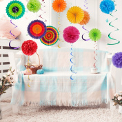 Sopeace 26 Pieces Colourful Party Decoration Set,Tissue Paper Pom Poms Flower Paper Fan and Hanging Swirl Kit for Baby Shower Birthday Decor Party Wedding Decoration Hanging Paper Fans