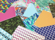 MIXED PATTERN GRAB BAG Lily Chevron Polka Dots Camo and More 8 Pieces 15cm x 15cm Perfect for Crafts!