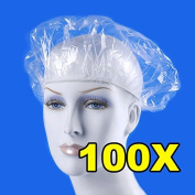 Disposable Shower Cap - 100 Pieces/pack Disposable Hat Hotel One-Off Elastic Shower Bathing Cap Clear Hair Salon Bathroom Products - Shower Cap For Women - Plastic Shower Cap