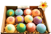 Bath Bombs, 12 Bombs w/FREE Lip Balm Gift Set, Organic Sustainable Palm Oil, from Enhance Me, Handmade in USA with Lush Shea Butter, Coconut Oil, 'See, Smell, & Feel the Difference'