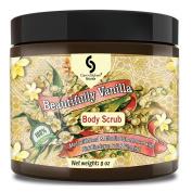 Medium - 240ml VANILLA Dead Sea Salt Body Scrub, Excellent Exfoliating Body Scrub - 100% Pure Sea Salt Scrub, Excellent Hydrating, Exfoliation & Moisturising Properties