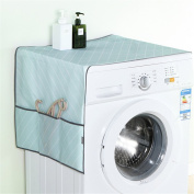 Saumota Candy Colour Decorative Oxford Cloth Dust Proof Cover Refrigerator Cover With Pockets-Blue