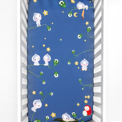 Rookie Humans 100% Cotton Sateen Navy Blue Fitted Mini Crib Sheet