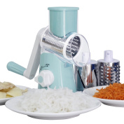 Blue Manual Mandolin Slicer Grater Vegetable Fruit Julienne Straight Cutter with 3 Round Stainless Steel Blades Drums