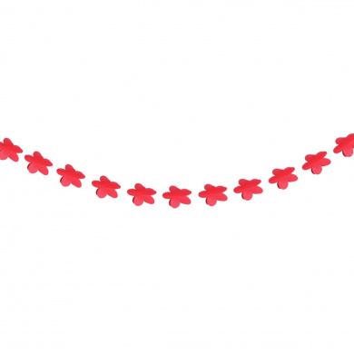 Tinksky 2M Flower Shape Paper Garland Wedding Birthday Party Decoration Event Supplies (Bright Red)