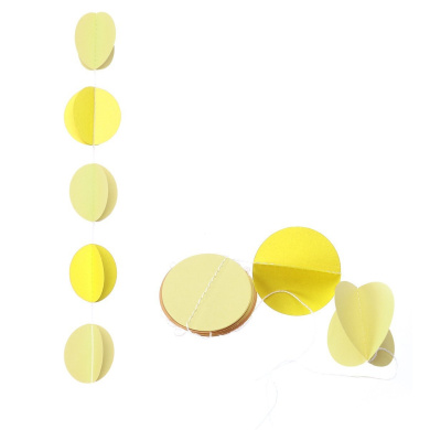 Tinksky Round Shape Paper Garland Wedding Birthday Baby Shower Party Christmas Decoration Event Supplies (Lemon Yellow+ Light Yellow)