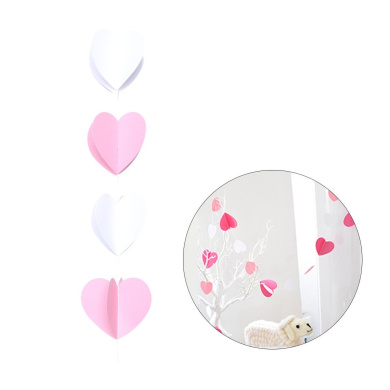 Tinksky Heart Shape Paper Garland for Wedding Bridal Showers Engagement Birthday Party Baby Shower Event Party (Pink+ White)