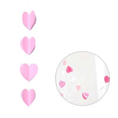 Tinksky Heart Shape Paper Garland for Wedding Bridal Showers Birthday Party Baby Shower Valentine's Day Event Party (Pink)