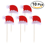 BESTOYARD Cupcake Toppers Christmas Santa Clause Hat Cupcake Cake Toppers With Sticks Party Cake Decoration 10 PCS