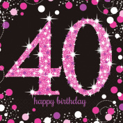 Party Wholesalers Amscan Sparkling Pink Celebration 40th Birthday - 16 Luncheon Napkins