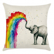 Gluckliy Colourful Elephant Pattern Pillowcase Decorative Throw Pillow Case Cushion Cover for Sofa Car Home Decor