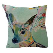 dragonaur Beautiful Colourful Deer Pillow Case Cushion Cover Home Decor