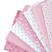 LA HAUTE 7Pcs 50x50cm Pink Series Fabric Bundles Flower Printed Cotton Fabric Comfortable Patchwork Fabric Home Textile Material Cloth for Sewing