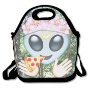Alien And Pizza Delivery Portable Food Bags Lunch Bags Convenient Lunch Packet Tote