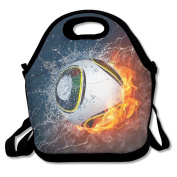 Baseball Ball On Fire And Water Portable Food Bags Lunch Bags Convenient Lunch Packet Tote