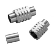 REAMOR 5pcs 6mm 316l Stainless Steel Metal Magnetic Buckle for Leather Bracelet Jewellery Findings,High Polished