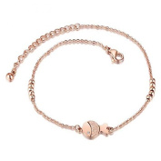 Coobbar Rose Gold Lovely Inlay Rhinestone Fish Titanium Steel Foots Chain Beach Anklet for Women