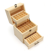 Wooden Essential Oil Box, Multi-Tray Fragrance Essential Oil Organiser Storage Box Case Display Holds 45 Essential Oil Bottles and 14 Roller Bottles for Travel & Presentations Gift Box