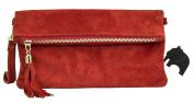 Big Handbag Shop Womens Real Italian Suede Leather Party Clutch Evening Wedding Bag
