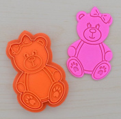 Girl Teddy Bear Head Cookie Cutter and Stamp Set