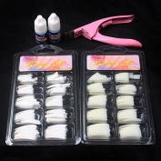 MZP 100 Pcs Natural White False Acrylic Nail Kit French Tips & Nail Art Glue Cutter Tools Kits Set To Build Gel Nails