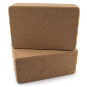Set of 2 Da Vinci Premium Natural Cork Yoga Blocks - High Density, 9 x 15cm x 10cm Each