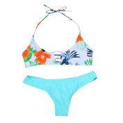 Paymenow Women Halter Neck Floral Bandage Brazilian Swimwear Bikini Set